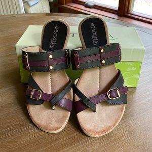 Patrizia | charcoal gray burgundy straps sandals